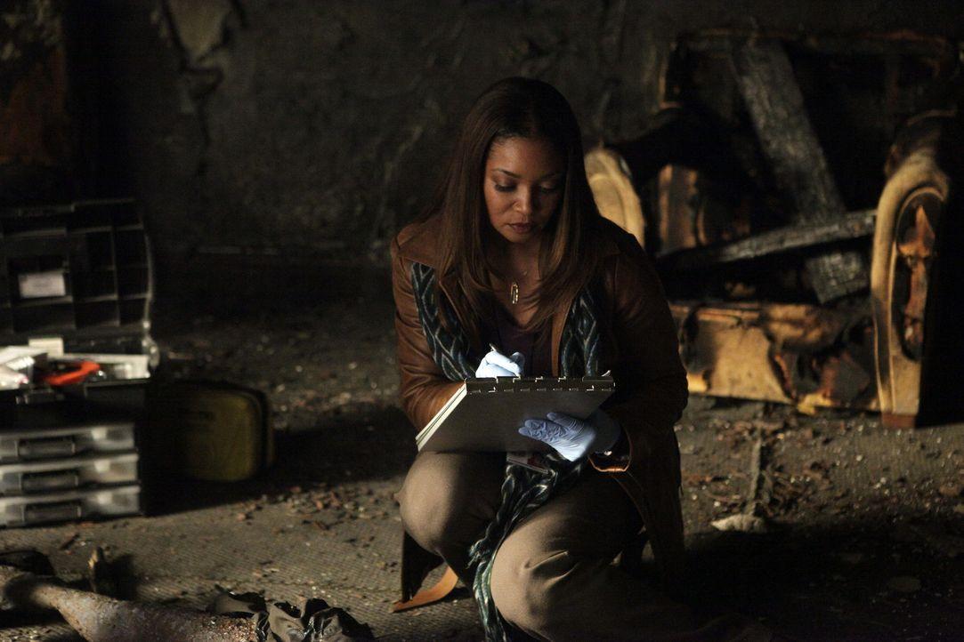 Bei ihren Ermittlungen findet Lanie (Tamala Jones) heraus, dass der Tote nicht lebend verbrannt, sondern vorher mit einem Kopfschuss getötet wurde .... - Bildquelle: 2013 American Broadcasting Companies, Inc. All rights reserved.
