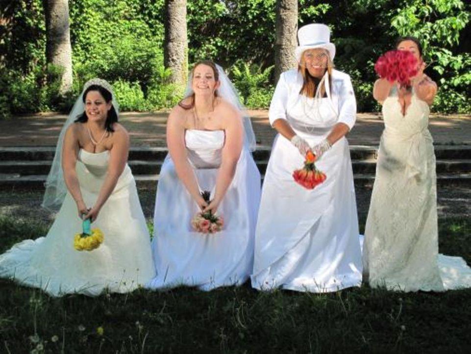 Vier Bräute treten an, im Wettkampf um das schönste Hochzeitsfest: Amanda (2.v.l.), Nora (r.), Jeanette (l.) und Brooke (2.v.r.) - Bildquelle: 2009 Discovery Communications, LLC