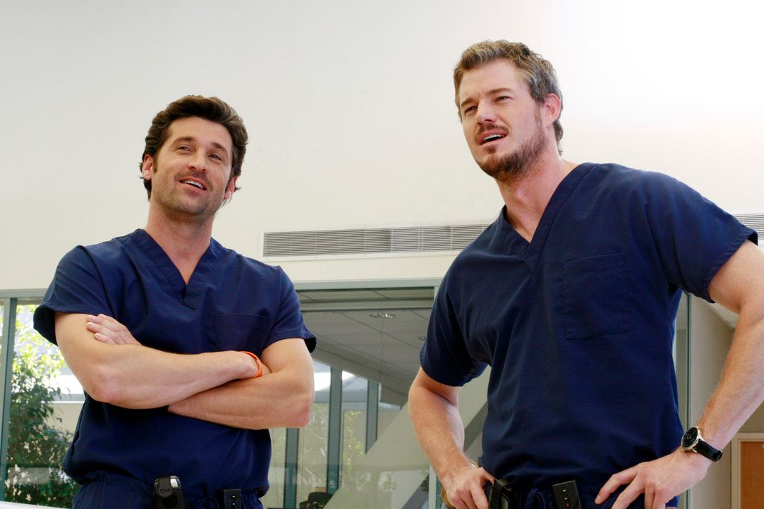 Sind zu einem wahren Männerabend bei Webber eingeladen: Derek (Patrick Dempsey, l.) und Mark (Eric Dane, r.) ... - Bildquelle: Touchstone Television