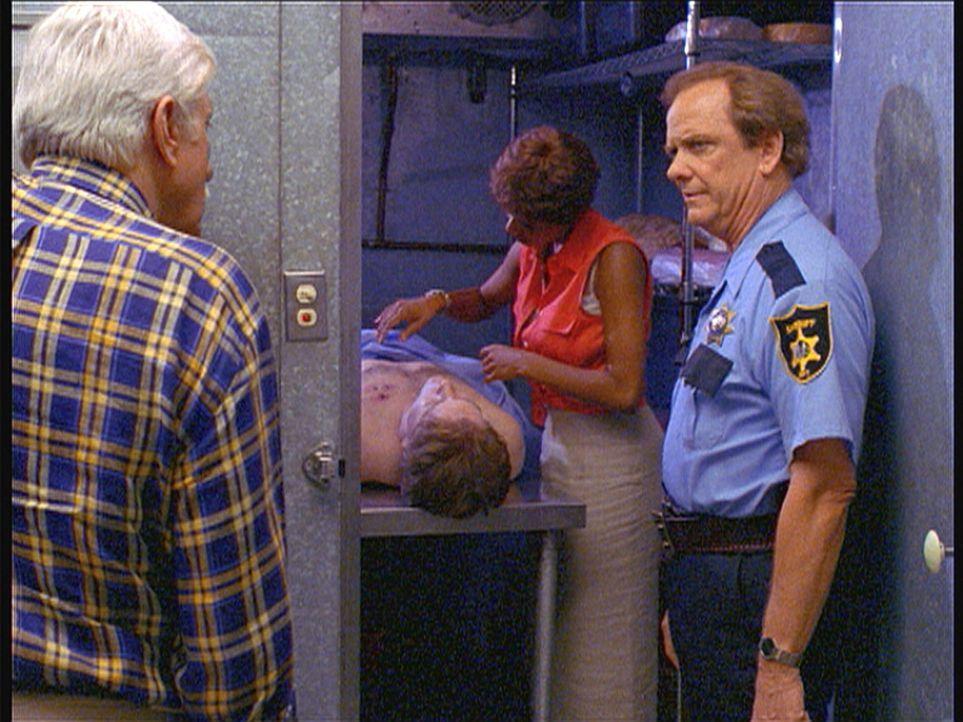 Marc (Dick Van Dyke, l.) befragt Sheriff Macon zu dem Mord, während Amanda (Victoria Rowell, 2.v.r.) das Opfer untersucht. - Bildquelle: Viacom
