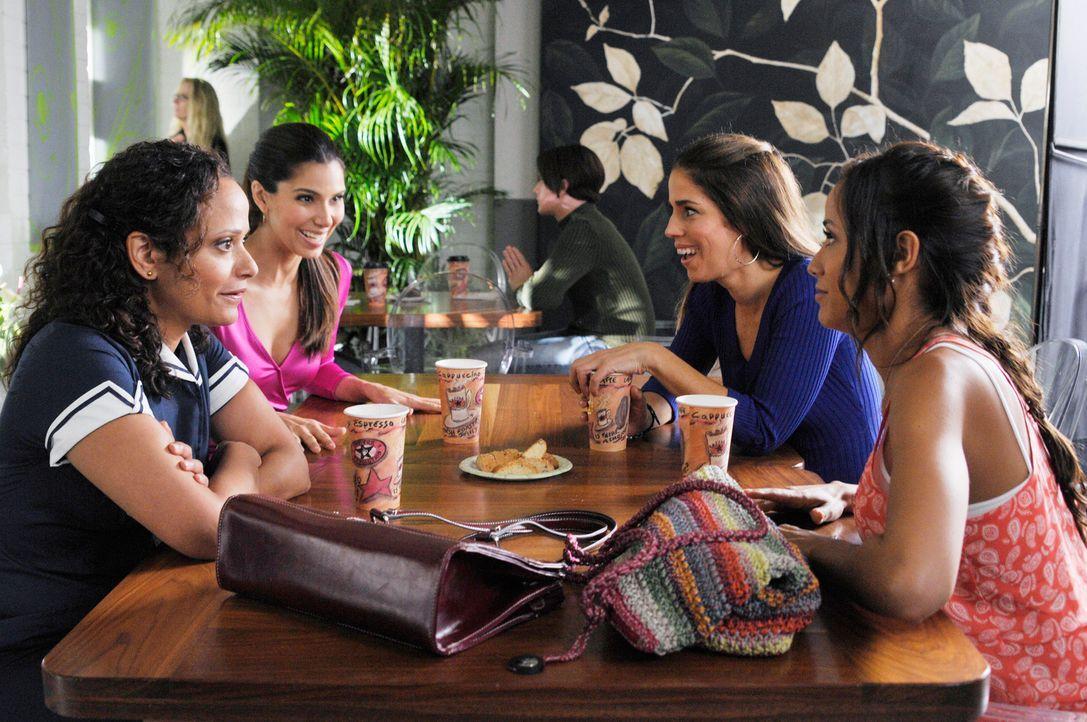 Während Rosie (Dania Ramirez, r.), Carmen (Roselyn Sanchez, 2.v.l.) und Zoila (Judy Reyes, l.) ihrem Tagesgeschäft nachgehen, versucht Marisol (Ana... - Bildquelle: ABC Studios