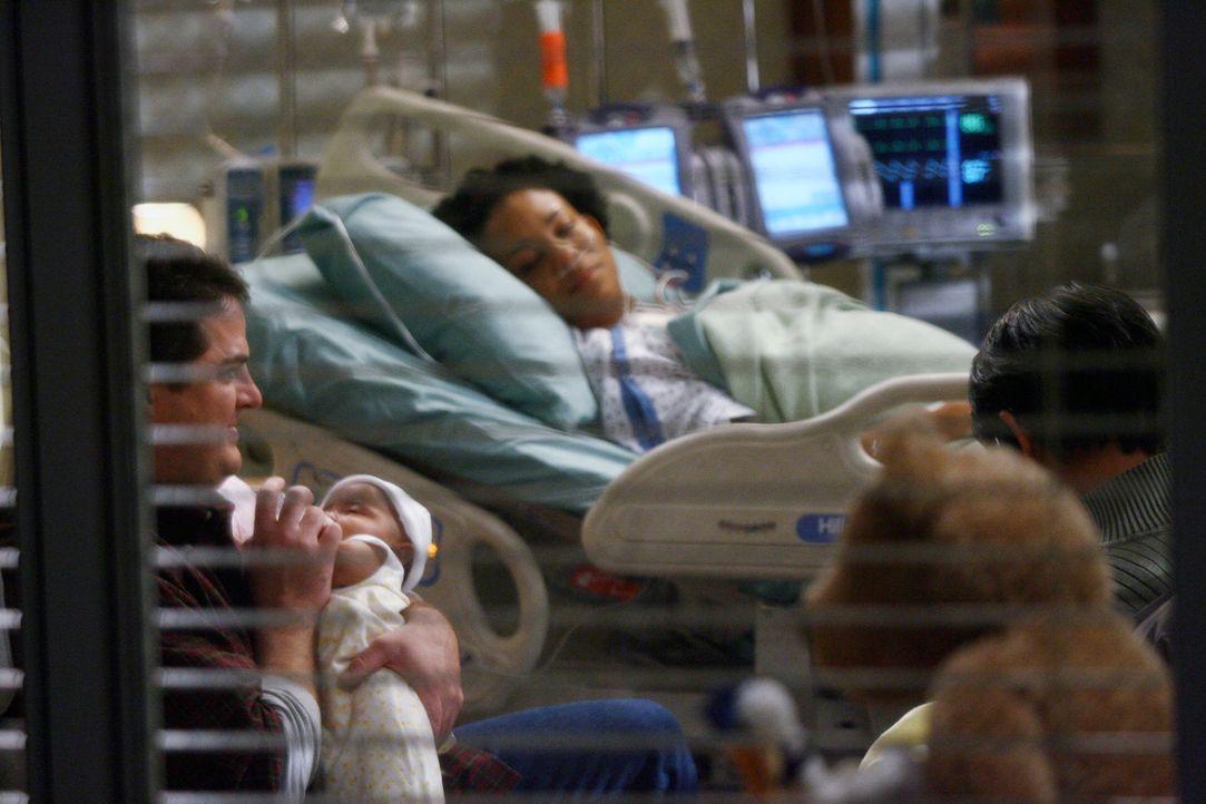 Obwohl noch nicht sicher ist, wem Rina (Aasha Davis, M.) die Kinder anvertrauen soll, stehen Joe (Steven W. Bailey, l.) und Walter (Jack Yang, r.) i... - Bildquelle: Touchstone Television