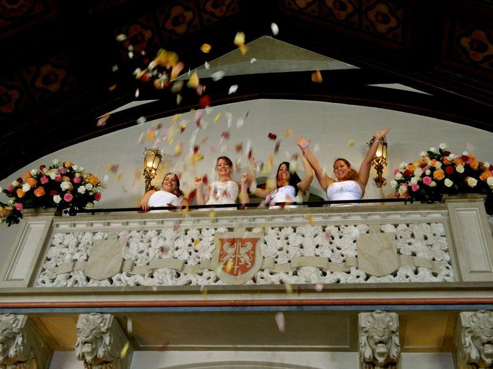 Kämpfen um den Titel und eine atemberaubende Hochzeitsreise: Chrissy (l.), Emily (2.v.l.), Kristin (2.v.r.) und Kara (r.) ... - Bildquelle: Richard Vagg DCL