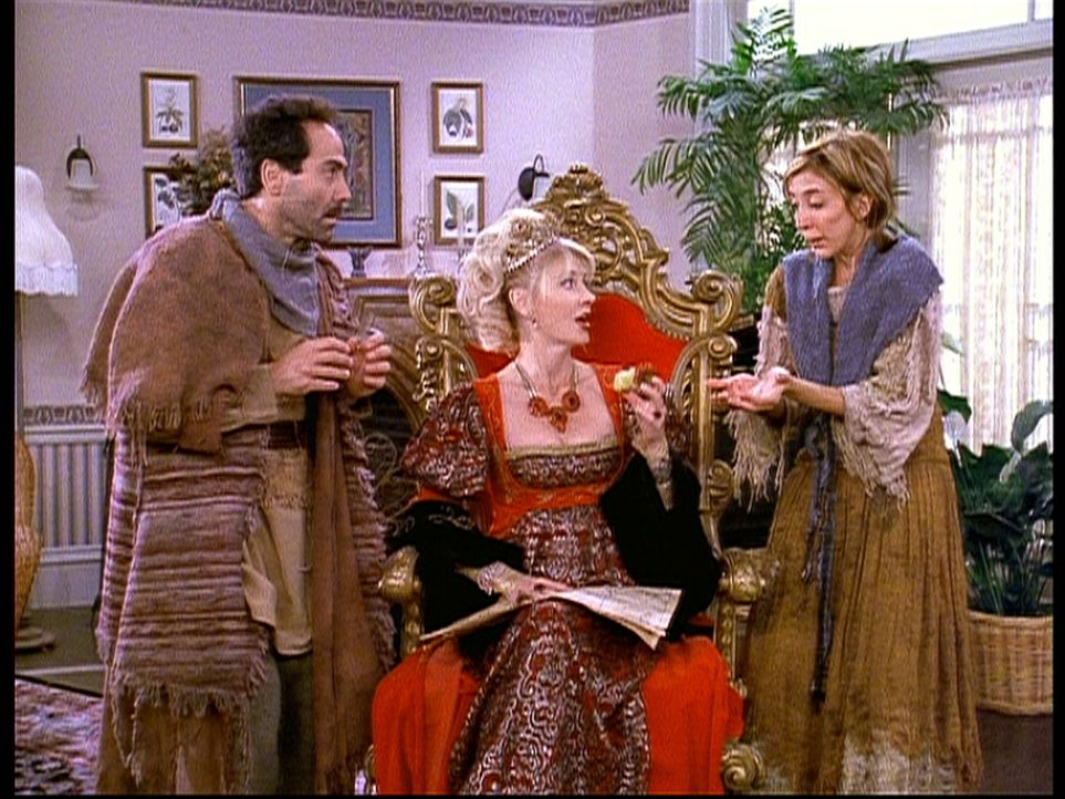 Zelda (Beth Broderick, M.) hat im anderen Reich ein Stück Land geerbt. Zwei ihrer Untertanen tauchen plötzlich auf und bitten sie um Hilfe. - Bildquelle: Paramount Pictures