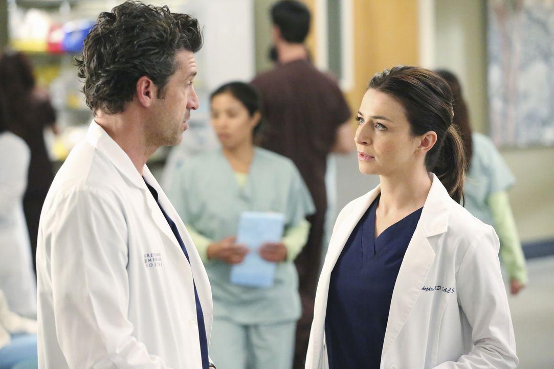 Fällt seiner Schwester (Caterina Scorsone, r.) in den Rücken - aus Eifersucht auf ihren hohen Posten: Derek (Patrick Dempsey, l.) ... - Bildquelle: ABC Studios