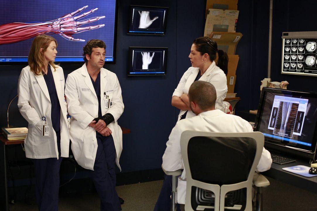 Während Callie (Sara Ramirez, r.) und Jackson (Jesse Williams, vorne) versuchen, Derek (Patrick Dempsey, 2.v.l.) zu einer riskanten Operation zu übe... - Bildquelle: ABC Studios