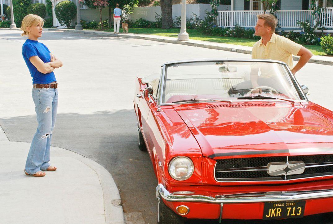 Lynette (Felicity Huffman, l.) wartet auf Tom (Doug Savant, r.), der schließlich mit neuen Plänen für die Zukunft nach Hause kommt. Er will die Pizz... - Bildquelle: ABC Studios