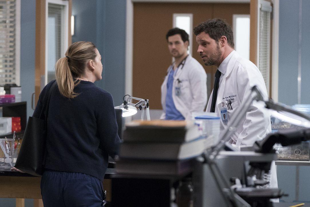 (v.l.n.r.) Dr. Meredith Grey (Ellen Pompeo); Dr. Andrew DeLuca (Giacomo Gianniotti); Dr. Alex Karev (Justin Chambers) - Bildquelle: Eric McCandless ABC Studios / Eric McCandless