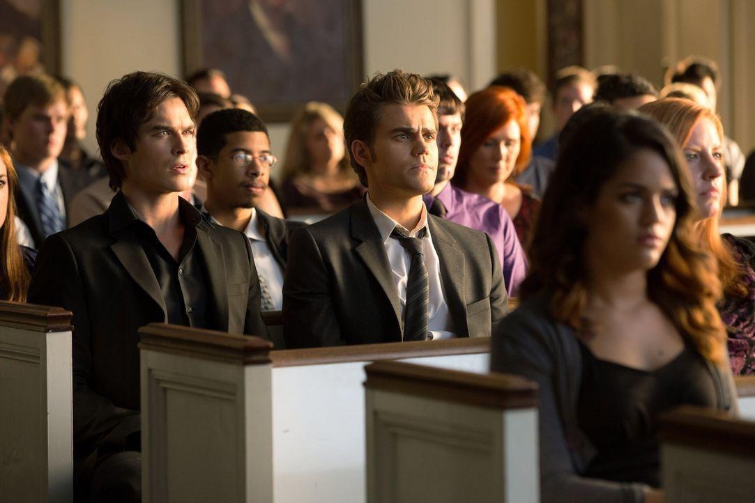 Um Elena helfen zu können, müssen sich Damon (Ian Somerhalder, Mitte l.) und Stefan (Paul Wesley, Mitte r.) wenigstens einmal einigen ... - Bildquelle: Warner Brothers