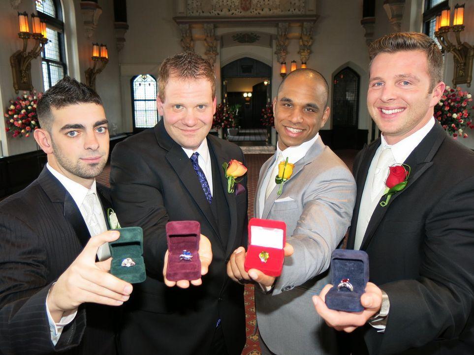 Mit den Ringen konnten sie zwar ihre Frauen beeindrucken, aber können Rick (l.), David (2.v.l.), Ryan (2.v.r.) und John (r.) auch ihre Konkurrenten... - Bildquelle: Richard Vagg DCL