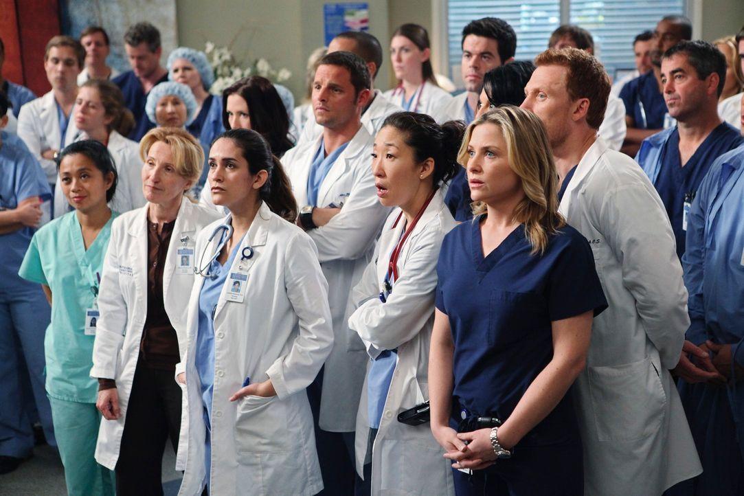 Die Mitarbeiter erfahren, dass Derek vorübergehend den Posten als Chief übernimmt: Lexie (Chyler Leigh), Alex (Justin Chambers), Cristina (Sandra Oh... - Bildquelle: Touchstone Television