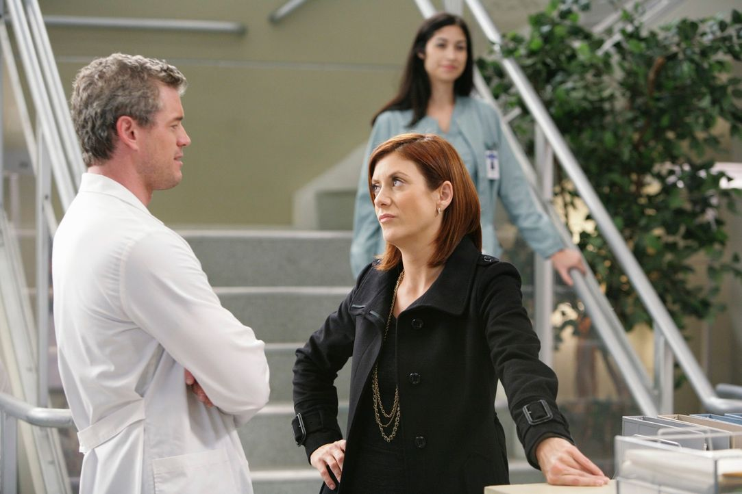 Als sich bei Sloans Ultraschall Besorgniserregendes zeigt, ruft Mark (Eric Dane, l.) Addison (Kate Walsh, r.) um Hilfe ... - Bildquelle: Touchstone Television