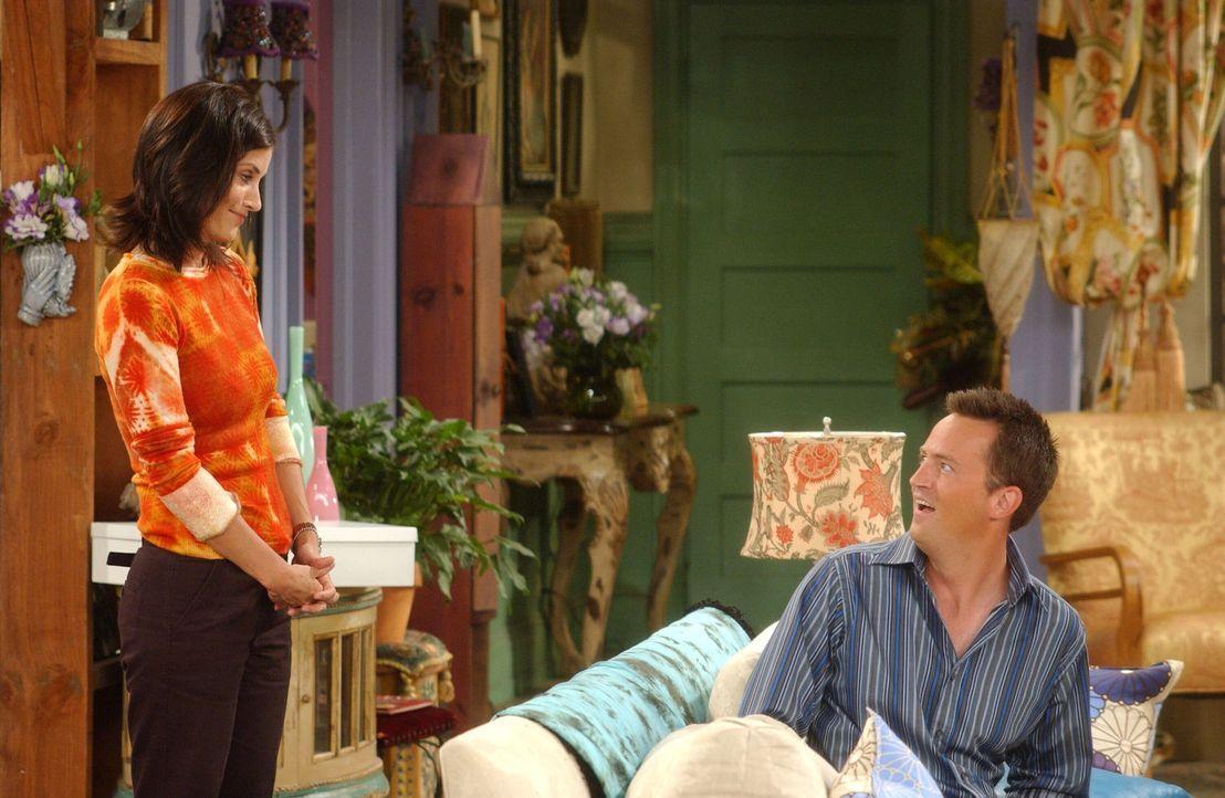 Bereiten sich auf das Gespräch mit der Dame von der Adoptionsstelle vor: Monica (Courteney Cox, l.) und Chandler (Matthew Perry, r.) ... - Bildquelle: 2003 Warner Brothers International Television