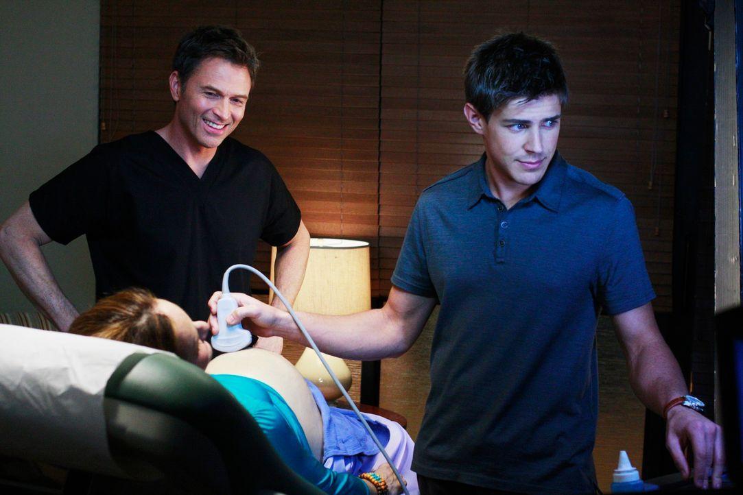 Pete (Tim Daly, M.) lebt sein Singleleben voll aus, doch als er bei Violets (Amy Brenneman, l.) Ultraschalluntersuchung, die Dell (Chris Lowell, r.)... - Bildquelle: ABC Studios