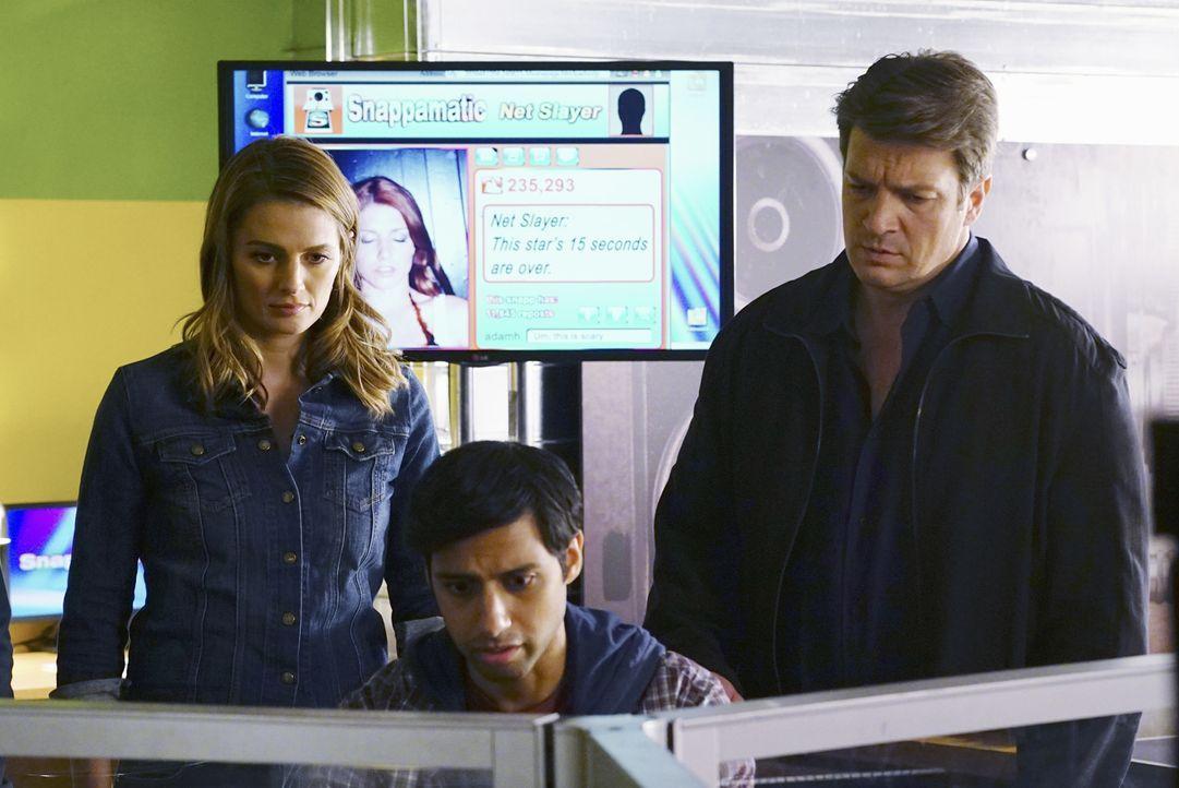 Kann Evan (Aly Mawji, M.) Castle (Nathan Fillion, r.) und Beckett (Stana Katic, l.) bei den Ermittlungen in einem neuen Fall behilflich sein? - Bildquelle: ABC Studios
