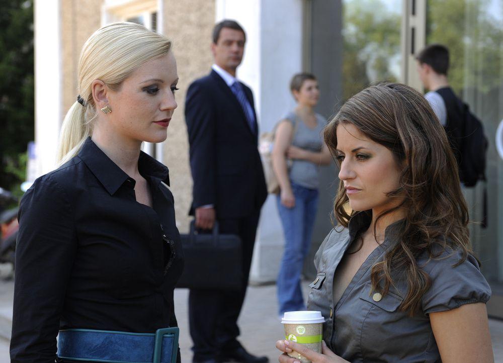 Bea (Vanessa Jung, r.) hat Angst, dass Stefan (Ulrich Drewes, M.) seine Drohung wahr bei Helena (Kim Sarah Brandt, l.) machen könnte ... - Bildquelle: SAT.1