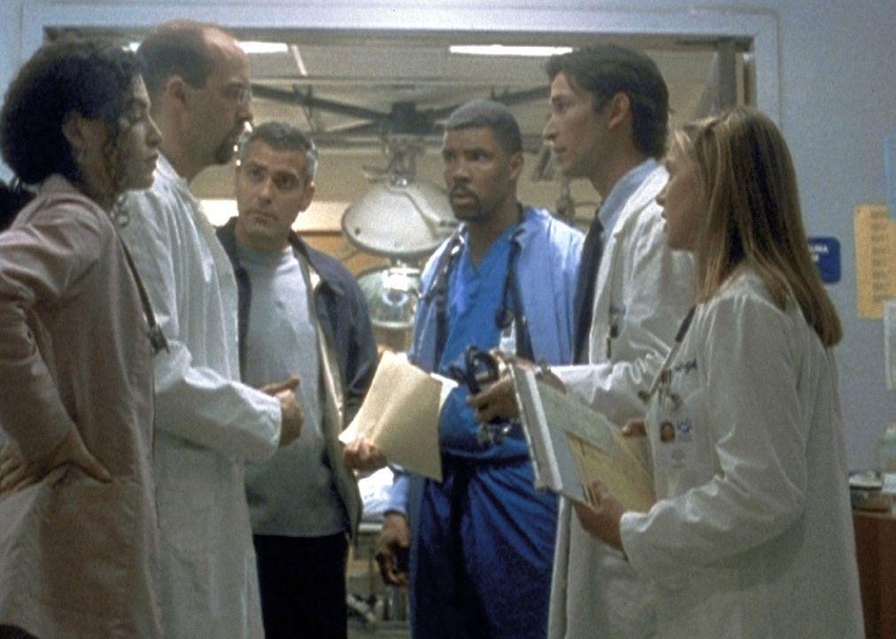 (v.l.n.r.) Das ER-Team, Carol Hathaway (Julianna Margulies), Dr. Greene (Anthony Edwards), Dr. Ross (George Clooney), Dr. Carter (Noah Wyle) und Luc... - Bildquelle: TM+  2000 WARNER BROS.