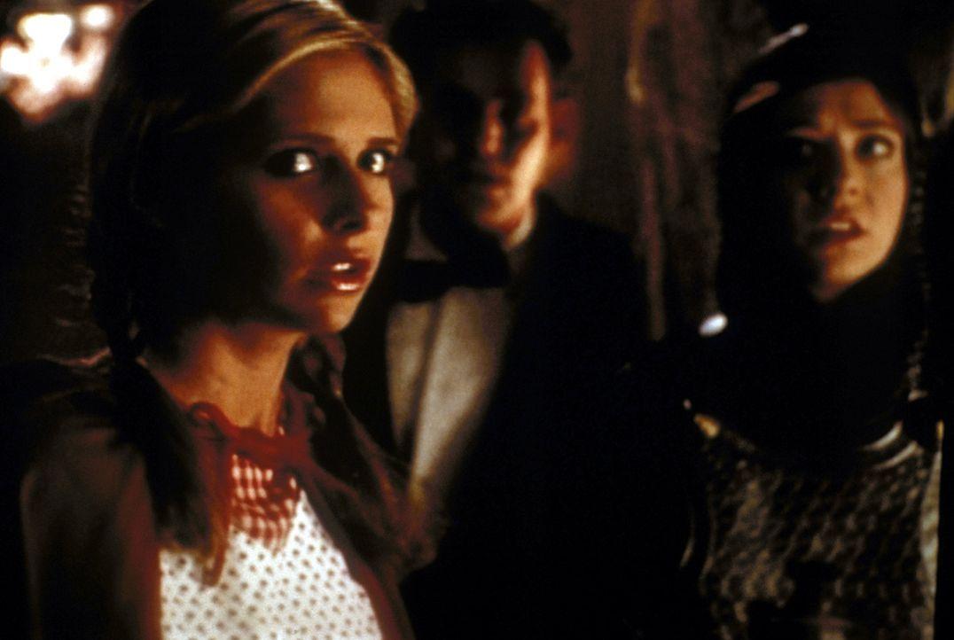 (v.l.n.r.) Buffy (Sarah Michelle Gellar), Xander (Nicholas Brendon) und Willow (Alyson Hannigan) sind in einem Gruselkabinett gefangen. - Bildquelle: TM +   2000 Twentieth Century Fox Film Corporation. All Rights Reserved.
