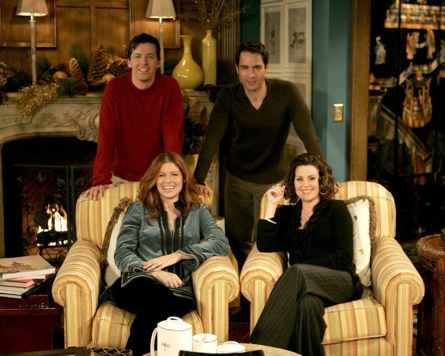 Weihnachten steht vor der Tür und Will (Eric McCormack, oben r.), Grace (Debra Messing, unten l.), Jack (Sean Hayes, oben l.) und Karen (Megan Mulla... - Bildquelle: Chris Haston 2003 NBC, Inc. All rights reserved.