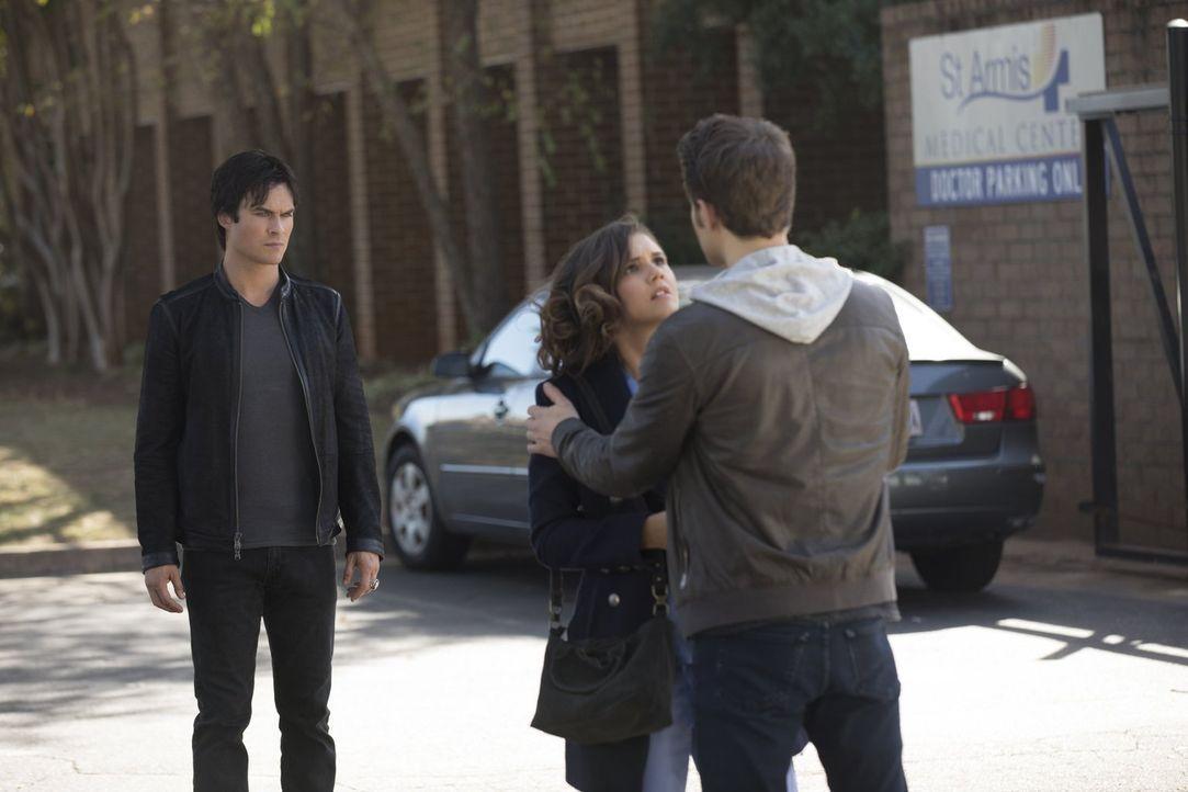 Während Damon (Ian Somerhalder, l.) und Stefan (Paul Wesley, r.) darüber diskutieren, ob Tara (Alexandra Chando, M.) ihr nächstes Opfer werden soll,... - Bildquelle: Warner Bros. Entertainment, Inc.
