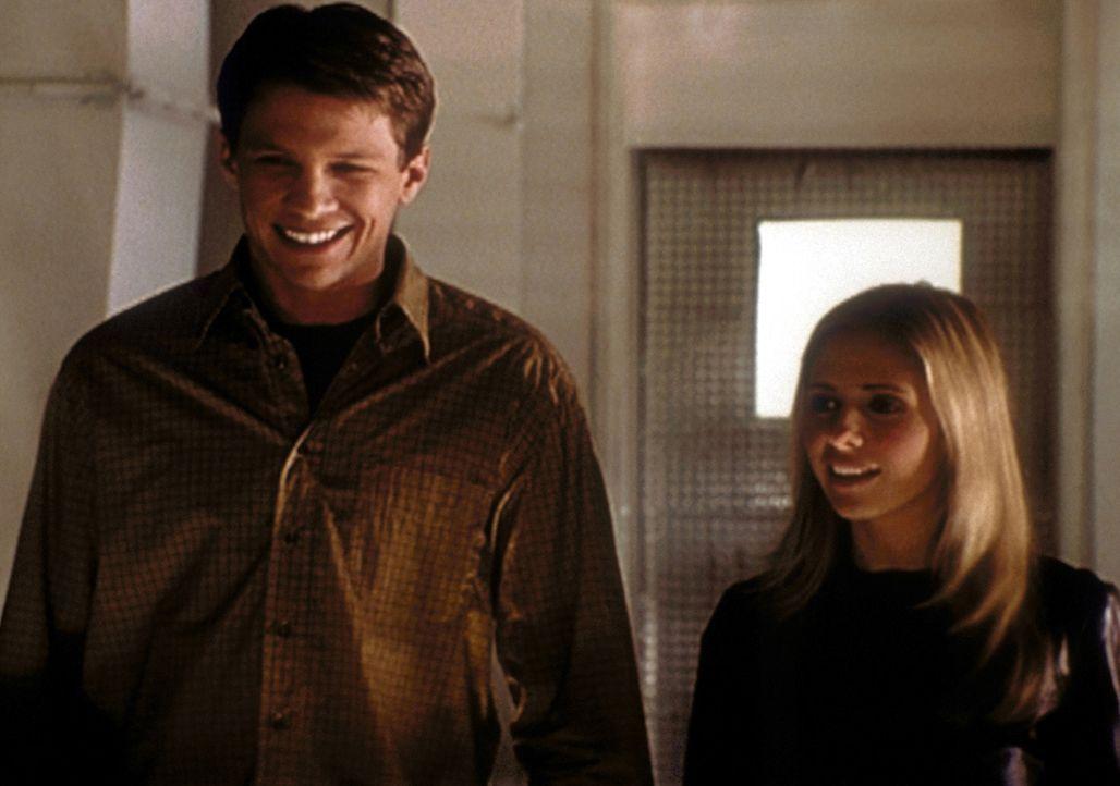 Riley (Marc Blucas, l.) ist stolz - er darf Buffy (Sarah Michelle Gellar) nun endlich die Räume der Initiative zeigen. - Bildquelle: TM +   2000 Twentieth Century Fox Film Corporation. All Rights Reserved.