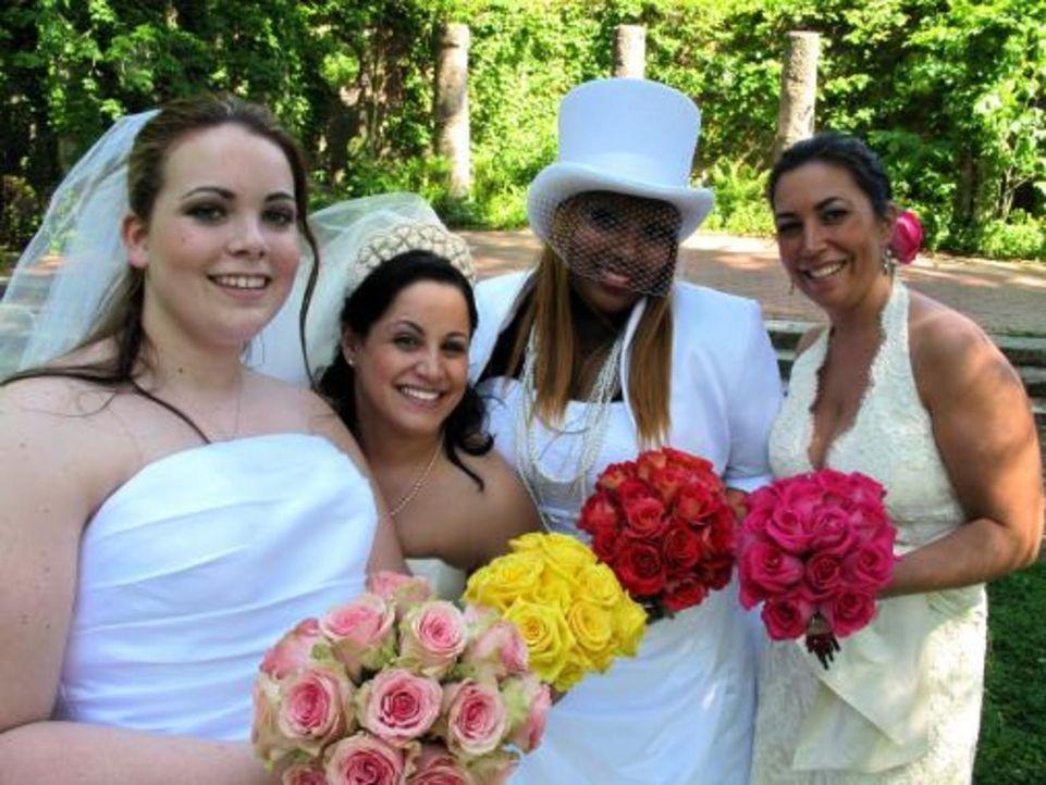 Vier Bräute treten an, im Wettkampf um das schönste Hochzeitsfest: Amanda (l.), Nora (r.), Jeanette (2.v.l.) und und Brooke (2.v.r.) - Bildquelle: 2009 Discovery Communications, LLC
