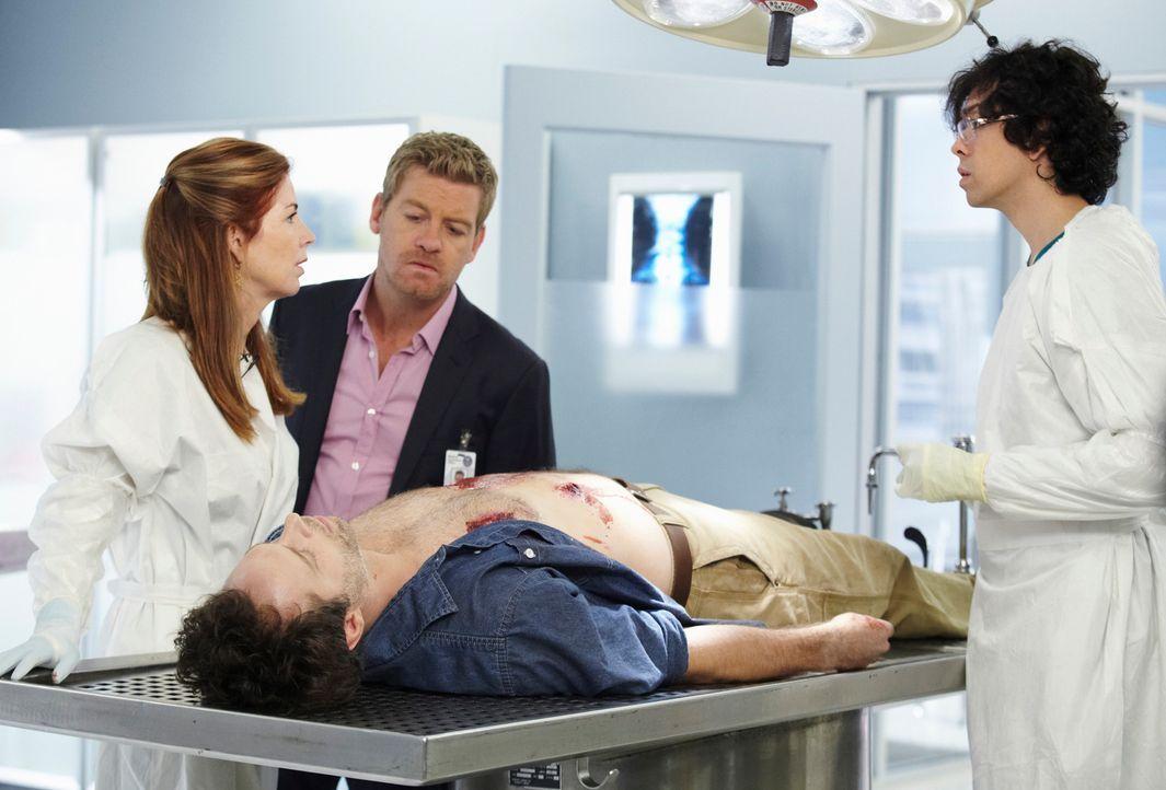 Untersuchen gemeinsam einen neuen Mordfall: Megan (Dana Delany, l.), Peter (Nicholas Bishop, M.) und Ethan (Geoffrey Arend, r.) ... - Bildquelle: ABC Studios