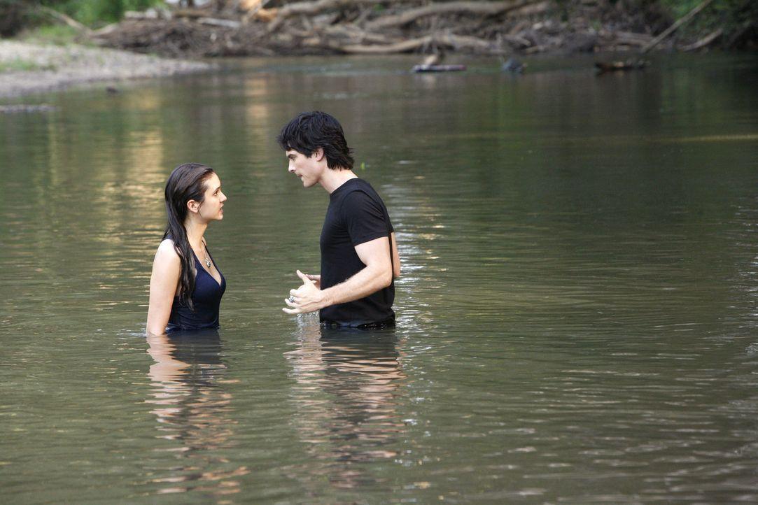 Damon Salvatore (Ian Somerhalder, r.) versucht Elena Gilbert (Nina Dobrev, l.) klarzumachen, dass sie sich in große Gefahr begibt ... - Bildquelle: © Warner Bros. Entertainment Inc.