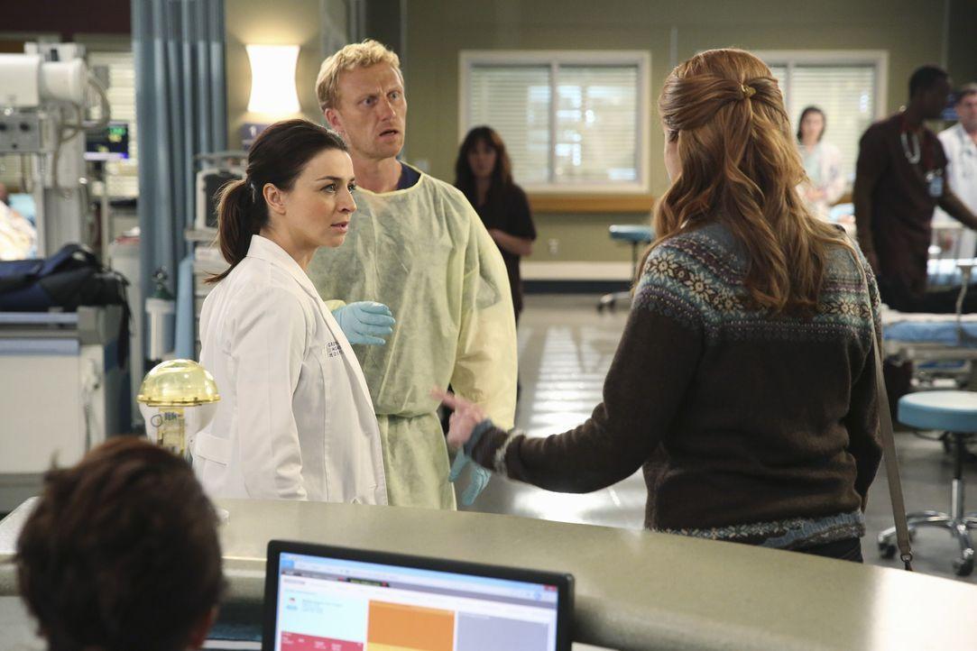 Amelia (Caterina Scorsone, l.) wird von einer alten Bekannten (Jessica Gardner, r.) als Ex-Junkie geoutet. Owen (Kevin McKidd, M.) reagiert alarmier... - Bildquelle: ABC Studios