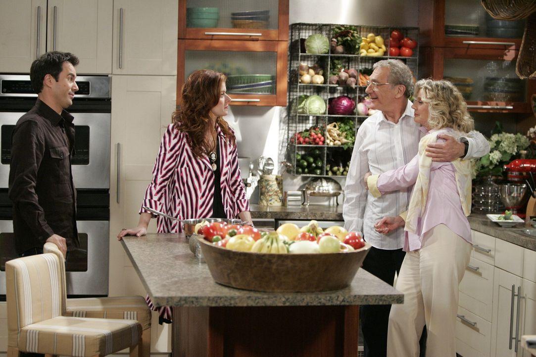 Nachdem Wills Vater George (Sydney Pollack, 2.v.r.) wieder zu seiner Frau (Blythe Danner, r.) zurückgekehrt ist, fahren Will (Eric McCormack, l.) un... - Bildquelle: Chris Haston NBC Productions