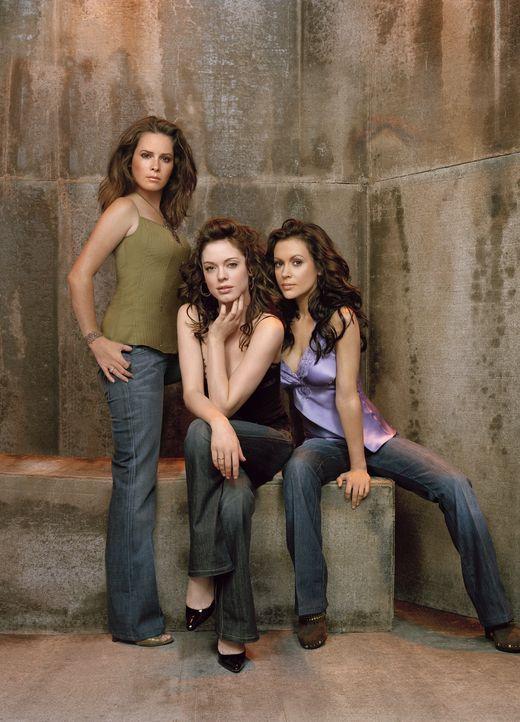 (8. Staffel) - Sie sind ein zauberhaftes Team: Phoebe (Ayssa Milano, r.), Piper (Holly Marie Combs, l.) und Paige (Rose McGowan, M.) ... - Bildquelle: Paramount Pictures