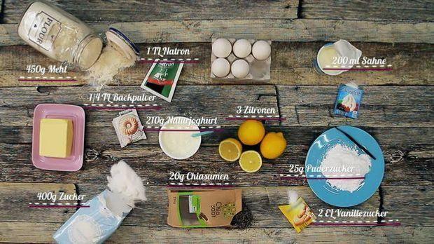 Zutaten für Zitronenküchlein mit Chia-Samen und Vanille-Sahne