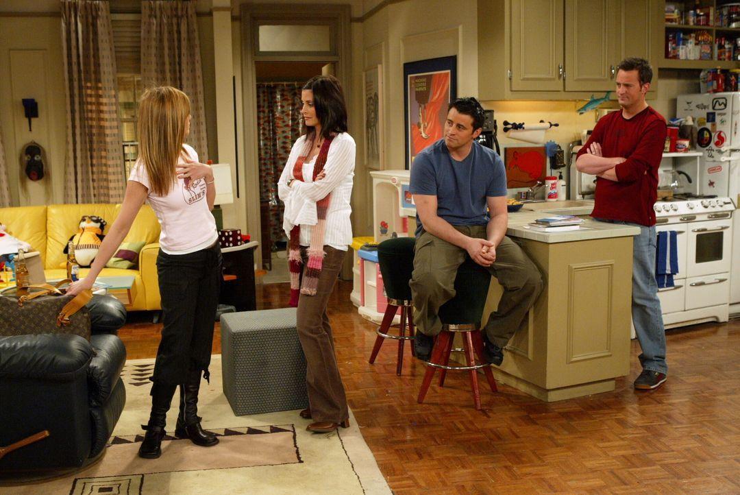 Für Rachel (Jennifer Aniston, l.) wird es Zeit, sich von ihren Freunden (Courteney Cox, 2.v.l., Matt LeBlanc, 2.v.r. und Matthew Perry, r.) zu verab... - Bildquelle: Warner Bros. Television