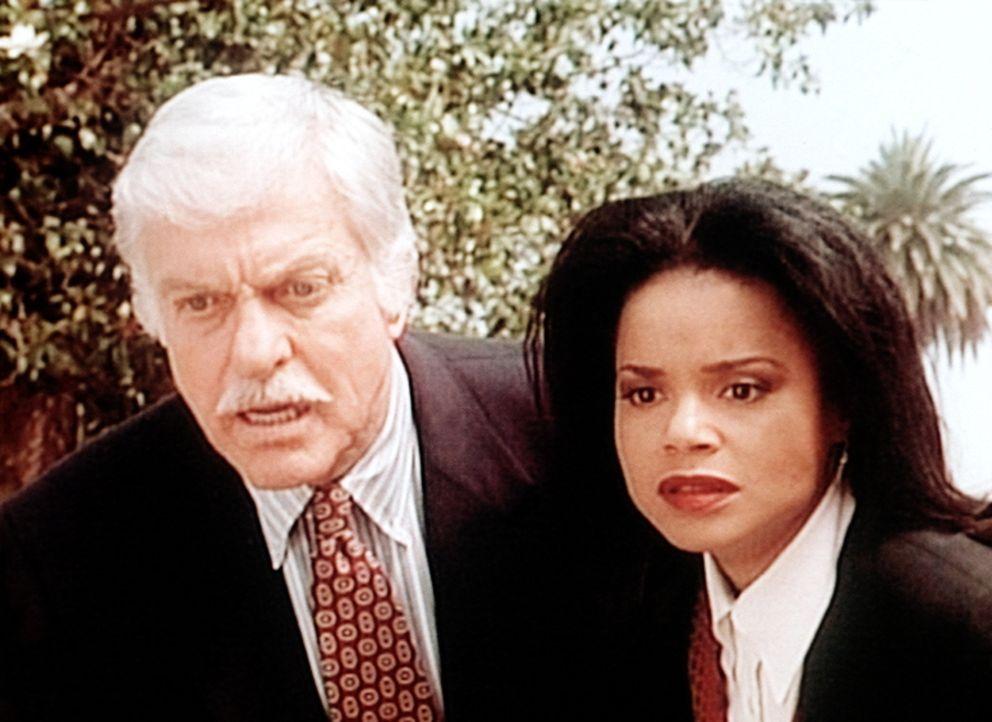 Mark (Dick Van Dyke, l.) und Amanda (Victoria Rowell, r.) beobachten auf einer Beerdigung voller Entsetzen einen Mord. - Bildquelle: Viacom