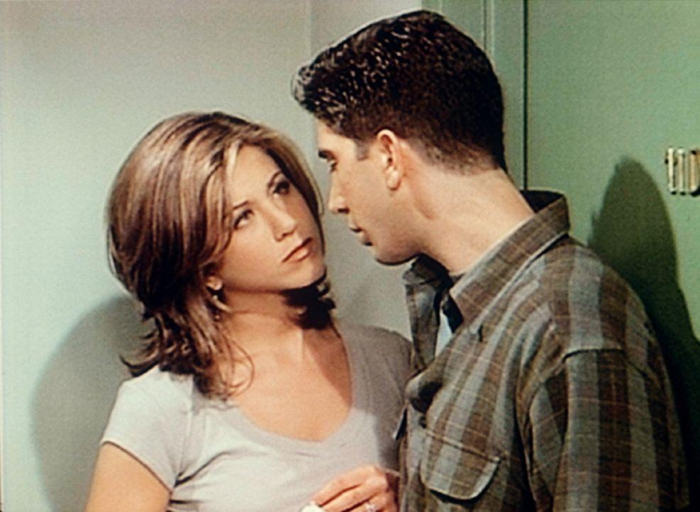 Rachel (Jennifer Aniston, l.) lässt nichts unversucht, Ross (David Schwimmer, r.) nahezukommen. - Bildquelle: TM+  2000 WARNER BROS.
