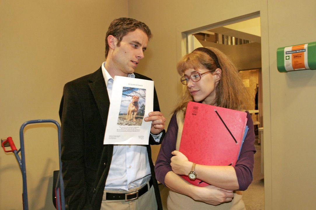 Max (Alexander Sternberg, l.) gibt vor, dass sein Engagement für ein Tierheim ihm keine Zeit lässt, um mit Lisa (Alexandra Neldel, r.) einen Kaffee... - Bildquelle: Noreen Flynn SAT.1 / Noreen Flynn