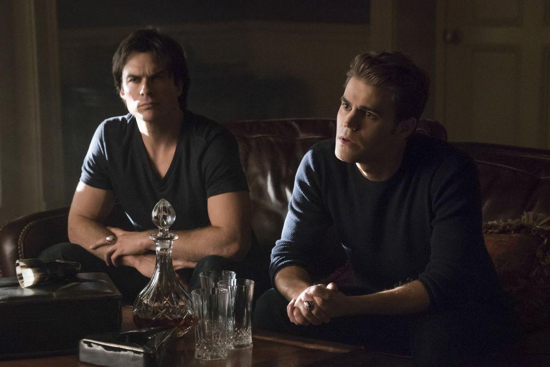 Während Stefan (Paul Wesley, r.) und Damon (Ian Somerhalder, l.) sich mit ihrer Vergangenheit auseinandersetzten müssen, geraten Carolines Zukunftsp... - Bildquelle: Warner Bros. Entertainment, Inc.