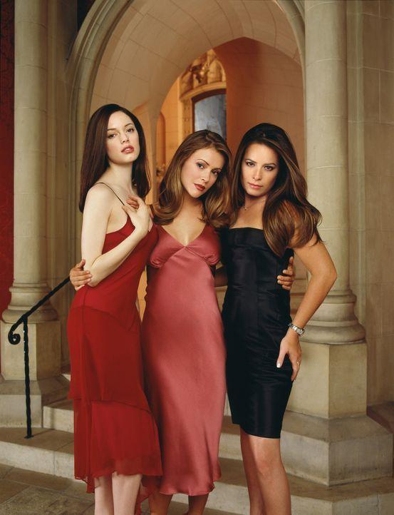 (4. Staffel) - Mit ihrer Halbschwester Paige (Rose McGowan, l.) ist die Macht der Drei wieder komplett. Das tröstet Phoebe (Alyssa Milano, M.) und P... - Bildquelle: Paramount Pictures