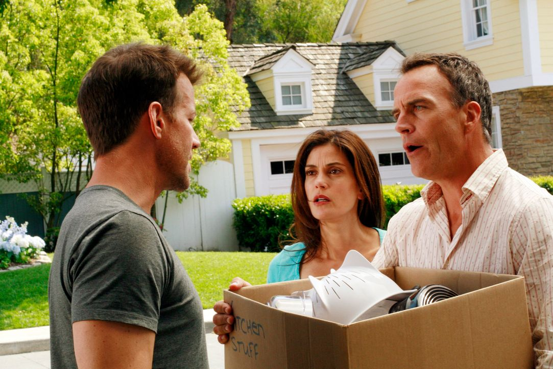 Mike (James Denton, l.) macht Karl (Richard Burgi, r.) demonstrativ klar, dass er der Mann in Susans (Teri Hatcher, M.) Leben ist ... - Bildquelle: 2005 Touchstone Television  All Rights Reserved
