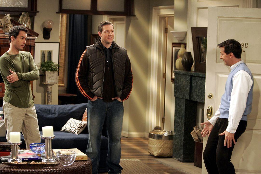 Jack (Sean Hayes, r.) erzähl Will (Eric McCormack, l.) und Nick (Edward Burns, M.) von seinem neuen Schwarm ... - Bildquelle: Chris Haston NBC Productions