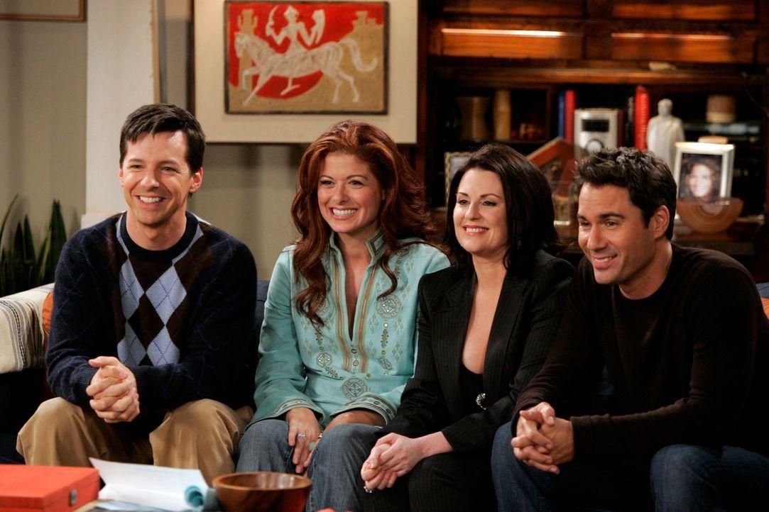 Ein gemeinsamer Spieleabend: Karen (Megan Mullally,2.v.r.), Will (Eric McCormack, r.), Grace (Debra Messing, 2.v.l.) und Jack (Sean Hayes, l.) ... - Bildquelle: NBC Productions