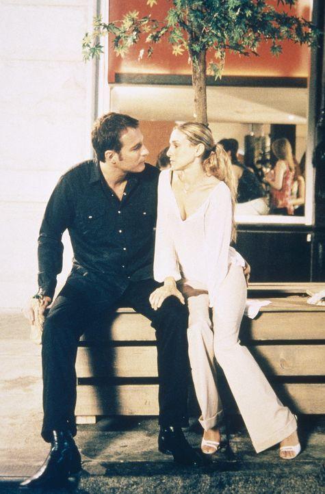Carrie (Sarah Jessica Parker, r.) holt sich Rat bei Aidan (John Corbett, l.), ob Steve erfahren müsste, dass Miranda schwanger ist. - Bildquelle: Paramount Pictures