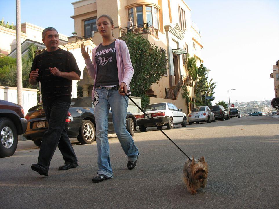 Die US-amerikanische Schauspielerin Julie Brown und ihr Ehemann haben für ihre 12-jährige Tochter (r.) den Yorkshire Terrier Candy gekauft. Wie viel... - Bildquelle: Rive Gauche Intern. Television