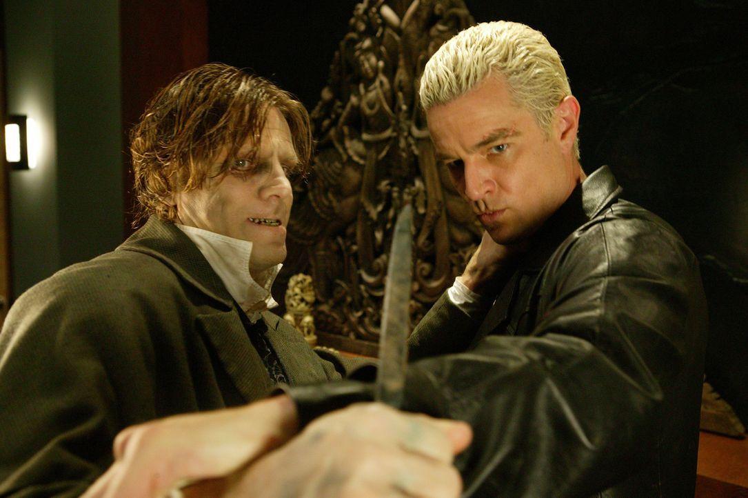 Spike (James Marsters, r.) gerät in die Fänge eines psychopatischen Arztes (Simon Templeman, l.), der die Seelen verstorbener Wolfram und Hart Mitar... - Bildquelle: The WB Television Network
