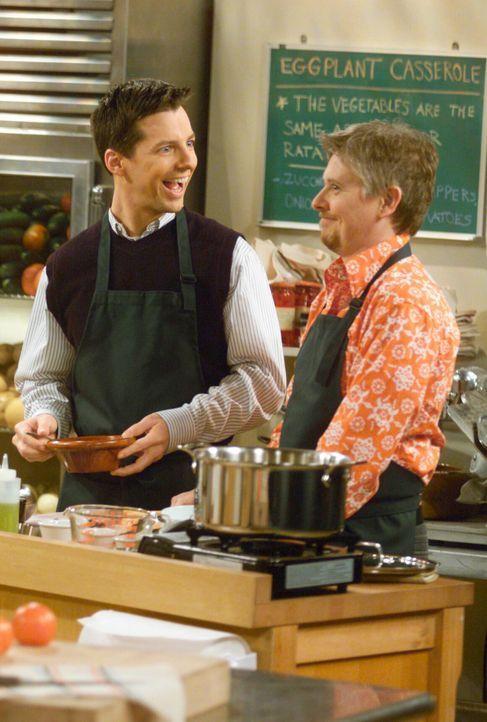 Jack (Sean Hayes, l.) und sein neuer fester Freund Stuart (Dave Foley, r.) haben im Gegensatz zu Will viel Spaß beim Kochkurs ... - Bildquelle: NBC Productions