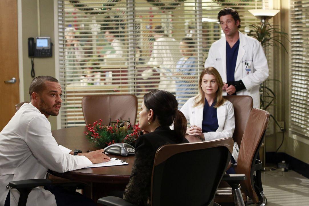 Während Lizzie (Neve Campbell, 2.v.l.) Meredith (Ellen Pompeo, 2.v.r.) gehörig die Meinung sagt, versucht Jackson (Jesse Williams, l.), Derek (Patri... - Bildquelle: ABC Studios