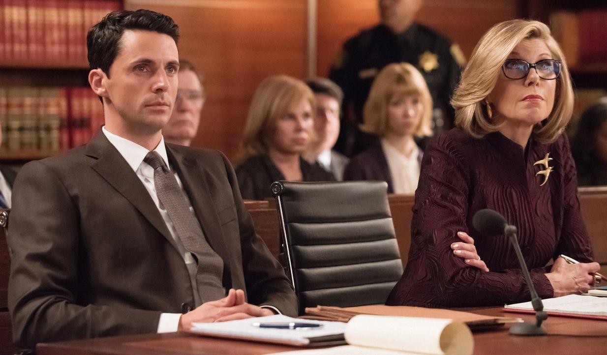 Finn (Matthew Goode, l.) hat einen neuen Klienten für Florick Agos und holt Diane (Christine Baranski, r.) zu sich ins Boot: Sein Klient klagt gegen... - Bildquelle: Jeff Neumann 2014 CBS Broadcasting Inc. All Rights Reserved.