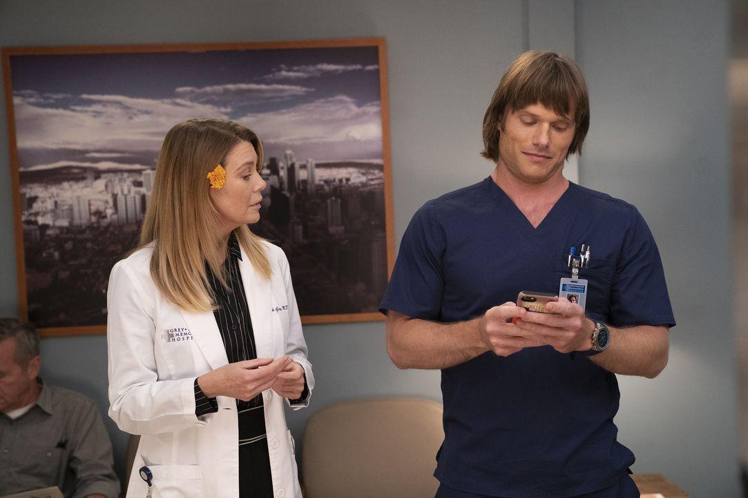 Dr. Meredith Grey (Ellen Pompeo, l.); Dr. Atticus Lincoln (Chris Carmack, r.) - Bildquelle: Mitch Haaseth ABC Studios / Mitch Haaseth
