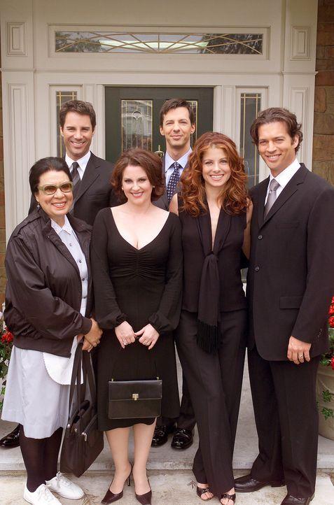 Wo ein letzter Wille ist: Rosario (Shelley Morrison, l.), Will (Eric McCormack, 2.v.l.), Karen (Megan Mullally, 3.v.l.), Jack (Sean Hayes, 3.v.r.),... - Bildquelle: NBC Productions
