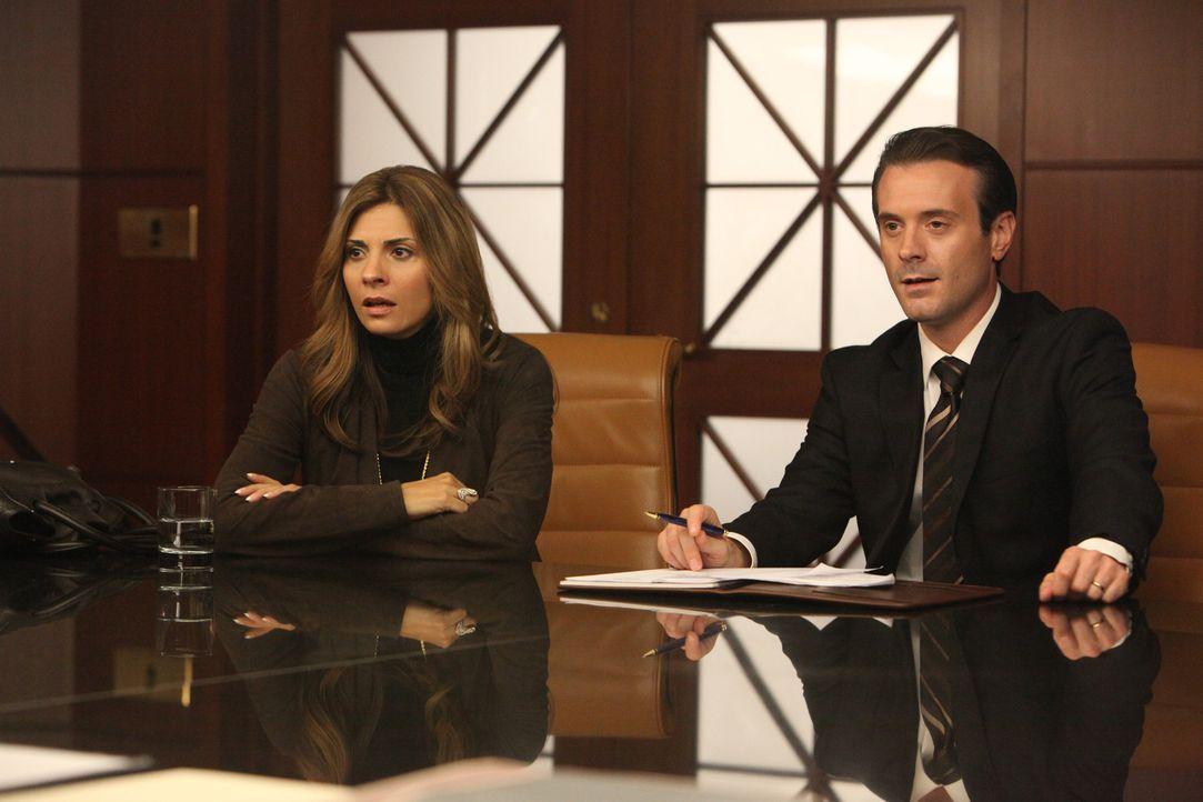 Chip (Joe Knezevich, r.) steht Dani (Callie Thorne, l.) bei der Scheidung bei ... - Bildquelle: 2011 Sony Pictures Television Inc. and Universal Network Television LLC.  All Rights Reserved.